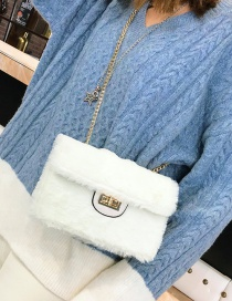 Fashion White Plush Chain Cross-body Shoulder Bag