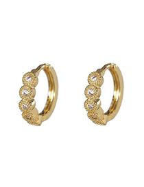 Fashion Golden Geometric Inlaid Crystal Zircon Ear Clips