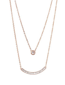 Fashion Rose Gold Double Smiley Necklace With Diamonds