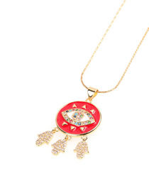 Fashion Red Dripping Diamond Palm Necklace