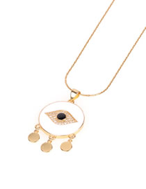 Fashion White Dripping Eye Circle Necklace With Diamonds