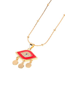 Fashion Red Dripping Eye Diamond Necklace