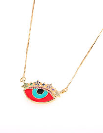 Fashion Red Dripping Star Colored Diamond Eye Necklace