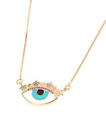 Fashion White Dripping Star Colored Diamond Eye Necklace