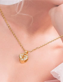 Fashion Golden Love Heart Lock Necklace With Diamonds