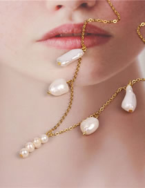 Fashion Beige Pearl Geometric Necklace