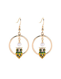 Fashion Golden Hollow Pearl Round Owl Stud Earrings