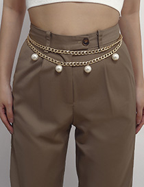 Fashion Golden 0572 Pearl Hollow Waist Chain