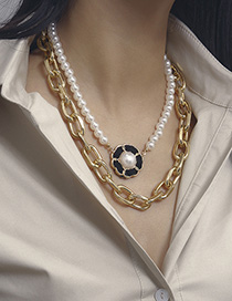 Fashion Golden 2750 Pearl Flower Multilayer Necklace