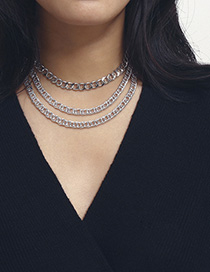Fashion One Or Three Layers Of Chain White K2724 Thick Chain Geometric Multilayer Necklace