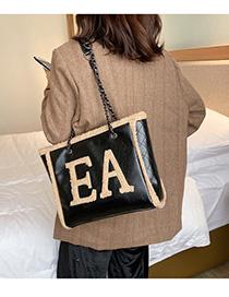 Fashion Black With Khaki Plush Letter Chain Shoulder Bag