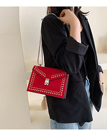 Fashion Red Studded Frosted Chain Cross-body Bag