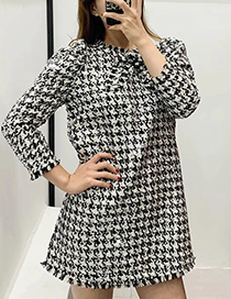 Fashion Black And White Houndstooth Beaded Dress