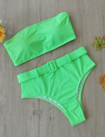 Fashion Green Tube Top Split Swimsuit