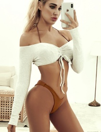 Fashion White Lace Up Three-sleeve Swimsuit