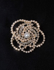 Fashion Brooch Camellia Brooch With Pearl And Diamonds