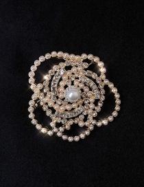 Broche De Camelia Con Perla Y Diamantes
