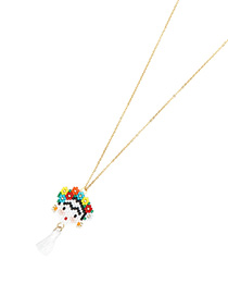 Fashion Color Rice Beads Woven Face Necklace