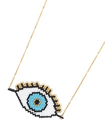 Fashion White Rice Beads Woven Eye Necklace