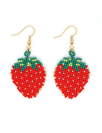 Fashion Red Rice Beads Woven Strawberry Earrings