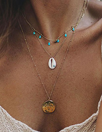 Fashion Golden Multi-layer Shell Necklace
