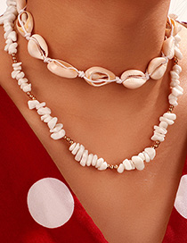 Fashion White Gold Bead Woven Gravel Shell Necklace Set