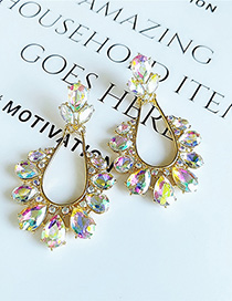 Fashion White Drop-shaped Diamond Earrings