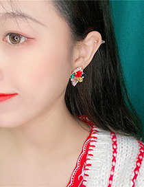 Fashion Red Flower Rhinestone Ear Studs