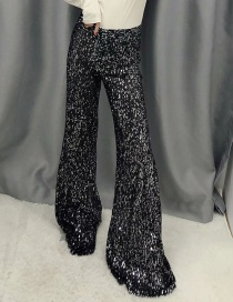 Fashion Black Sequined Flared Trousers