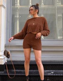 Fashion Brown Crew Neck Sweater + High Waist Shorts Set