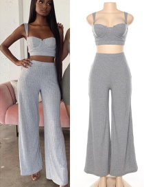 Fashion Gray Camisole + High Waist Wide Leg Pants Suit