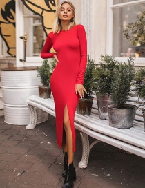 Fashion Red Crew Neck Open Back Dress