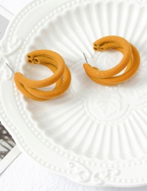 Fashion Yellow Flocking C Earrings
