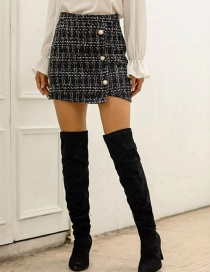 Fashion Black High-waist Three-button Plaid A-line Skirt Knitted Skirt