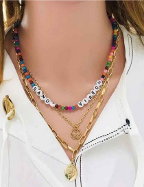 Fashion Golden Alphabet Portrait Natural Stone Multilayer Necklace