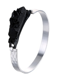 Fashion Silver Resin Open Bangle