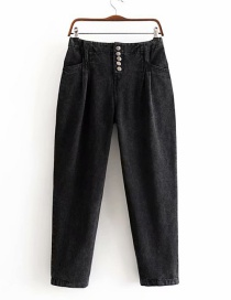 Fashion Black Single-breasted High-rise Jeans