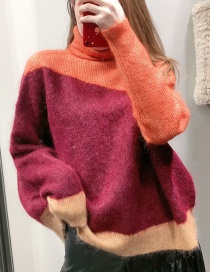 Fashion Orange + Wine Red Mohair Colorblock Knitted Sweater