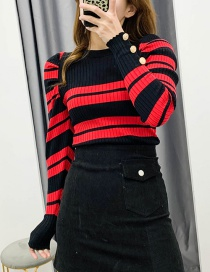 Fashion Black + Red Striped Contrast Knitted Sweater
