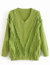 Fashion Green V-neck Beard Knitted Sweater