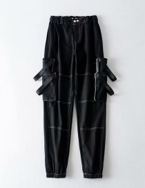 Fashion Black Contrast Overalls With Large Web Pocket