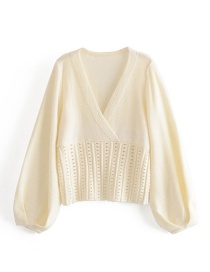 Fashion Off-white V-neck Waist Cutout Lantern Sleeve Knitted Sweater