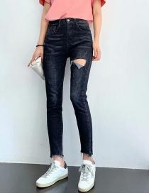 Fashion Black Ash Washed High-stretch Denim Cropped Denim Pants