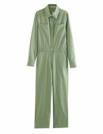Fashion Green Lapel Overalls