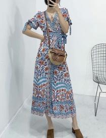 Fashion Blue Flower Print Short Sleeve V-neck Lace Dress