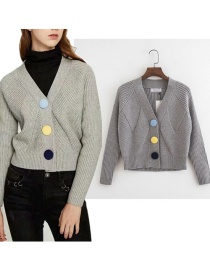 Fashion Gray Textured Plush Button Short Knitted Cardigan