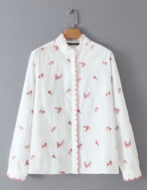 Fashion Pink Flowers Embroidered Embroidered Lace Collar Shirt