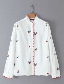 Fashion Green Flowers Embroidered Embroidered Lace Collar Shirt