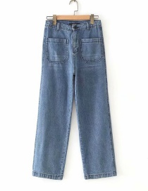 Fashion Blue Washed Double-pocket Straight Jeans
