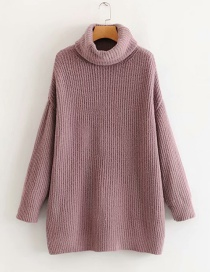 Fashion Brown Turtleneck Knitted Sweater